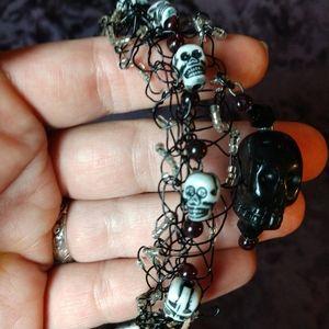 Onyx skull bead crochet wire bracelet girls OOAK